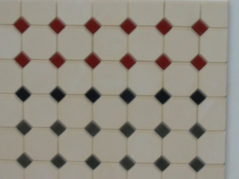 Cream Octagonal Floor Tiles - Dolls House